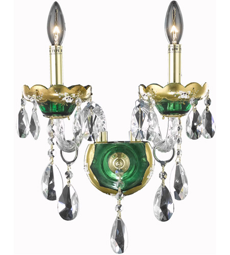 Elegant Lighting 7810W2GN/SA Alexandria 2 Light 12 inch Green Wall Sconce Wall Light in Spectra Swarovski photo