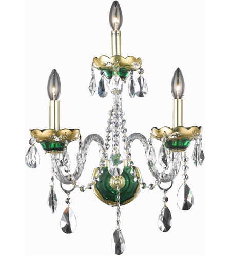 Elegant Lighting Alexandria 3 Light Wall Sconce in Green with Royal Cut Clear Crystal 7810W3GN/RC photo