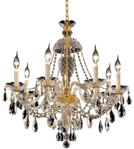 Elegant Lighting Alexandria 7 Light Dining Chandelier in Gold with Swarovski Strass Clear Crystal 7829D26G/SS photo