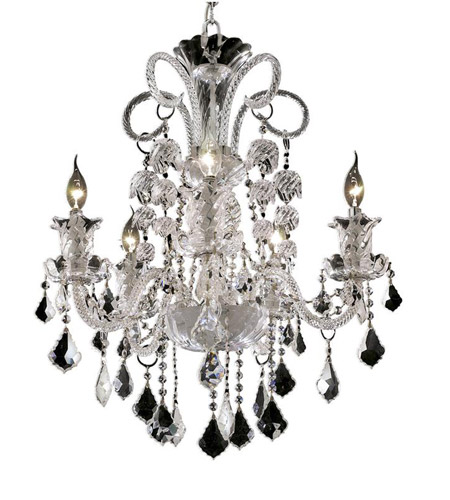 Elegant Lighting Elizabeth 5 Light Dining Chandelier in Chrome with Royal Cut Clear Crystal 7830D25C/RC photo