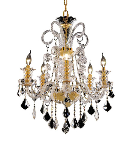 Elegant Lighting Elizabeth 5 Light Dining Chandelier in Gold with Royal Cut Clear Crystal 7830D25G/RC photo