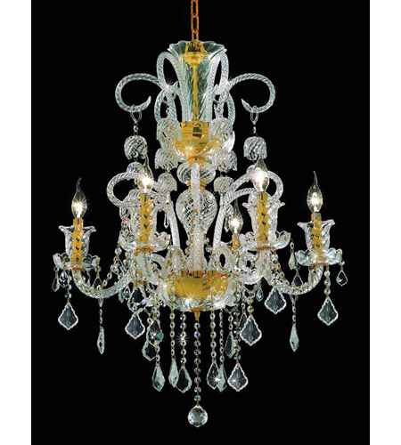 Elegant Lighting Elizabeth 6 Light Dining Chandelier in Gold with Elegant Cut Clear Crystal 7830D26G/EC photo