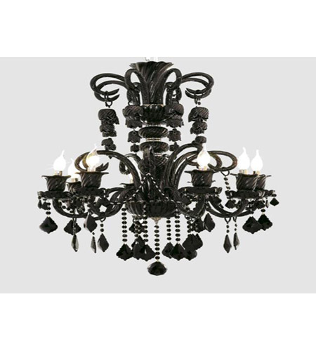 Elegant Lighting Elizabeth 8 Light Chandelier in Black with Royal Cut Jet (Black) Crystals 7830D29B/RC photo
