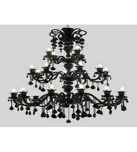Elegant Lighting 7830G44B/RC Elizabeth 24 Light 44 inch Black Chandelier Ceiling Light in Jet, Royal Cut  photo