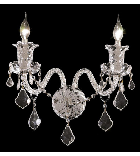 Elegant Lighting Elizabeth 2 Light Wall Sconce in Chrome with Royal Cut Clear Crystal 7830W2C/RC photo