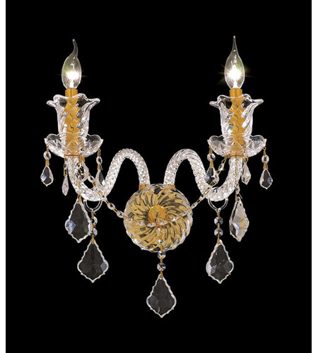 Elegant Lighting Elizabeth 2 Light Wall Sconce in Gold with Elegant Cut Clear Crystal 7830W2G/EC photo