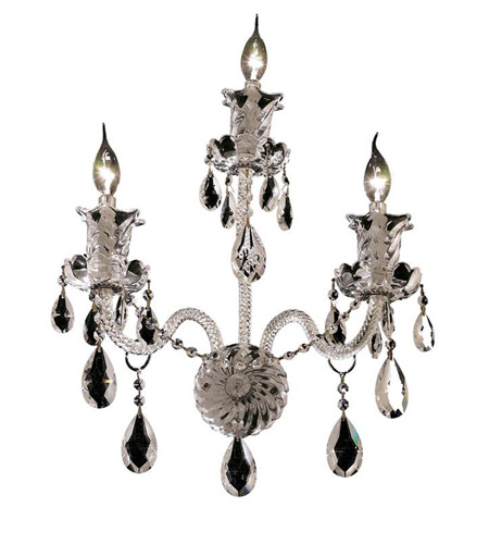 Elegant Lighting Elizabeth 3 Light Wall Sconce in Chrome with Swarovski Strass Clear Crystal 7832W3C/SS photo