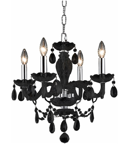 Elegant Lighting Princeton 4 Light Chandelier in Black with Royal Cut Clear Crystals 7834D17B/RC photo