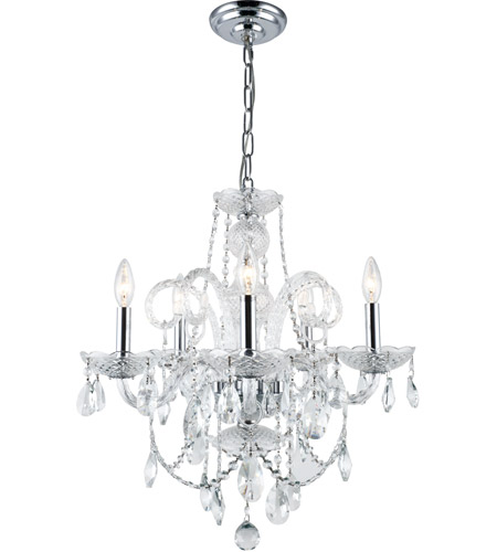 Elegant Lighting 7835D20C/RC Princeton 5 Light 20 inch Chrome Dining Chandelier Ceiling Light in (None) photo