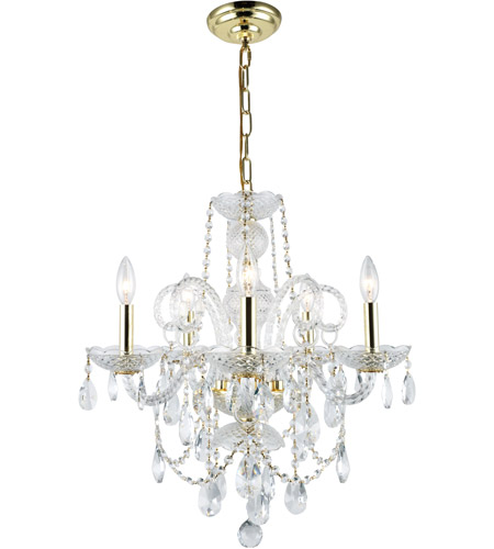 Elegant Lighting 7835D20G/RC Princeton 5 Light 20 inch Gold Dining Chandelier Ceiling Light in (None) photo