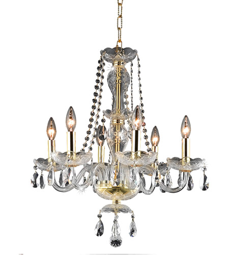 Elegant Lighting Princeton 6 Light Dining Chandelier in Gold with Royal Cut Clear Crystal 7836D20G/RC photo