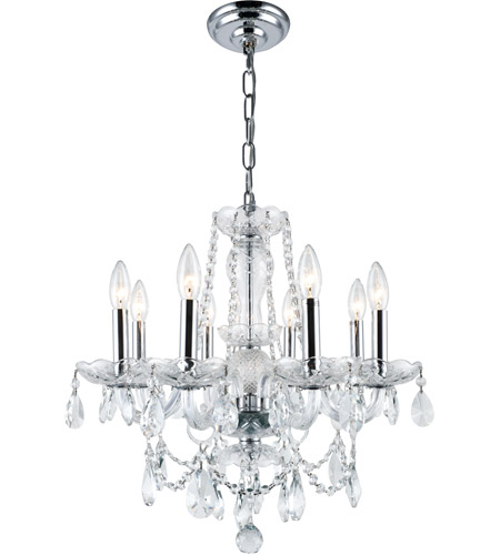 Elegant Lighting Princeton 8 Light Dining Chandelier in Chrome with Royal Cut Clear Crystal 7838D20C/RC photo