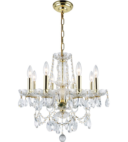 Elegant Lighting Princeton 8 Light Dining Chandelier in Gold with Royal Cut Clear Crystal 7838D20G/RC photo