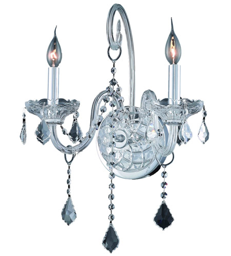 Elegant Lighting Verona 2 Light Wall Sconce in Chrome with Royal Cut Clear Crystal 7852W2C/RC photo
