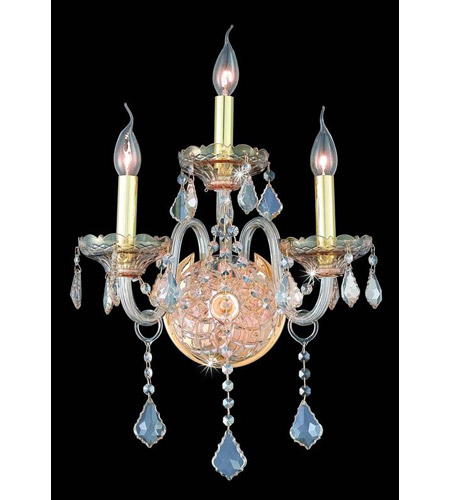 Elegant Lighting Verona 3 Light Wall Sconce in Golden Shadow with Royal Cut Golden Shadow Crystal 7853W3GS-GS/RC photo