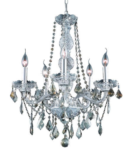 Elegant Lighting 7855D21C-GT/SS Verona 5 Light 21 inch Chrome Dining Chandelier Ceiling Light in Golden Teak, Swarovski Strass photo