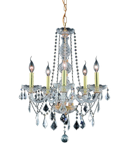Elegant Lighting 7855D21G/SS Verona 5 Light 21 inch Gold Dining Chandelier Ceiling Light in Clear, Swarovski Strass photo