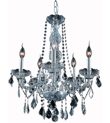 Elegant Lighting Verona 5 Light Dining Chandelier in Silver Shade with Royal Cut Silver Shade Crystal 7855D21SS-SS/RC photo