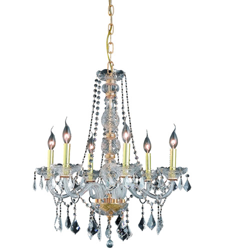 Elegant Lighting Verona 6 Light Dining Chandelier in Gold with Royal Cut Clear Crystal 7856D24G/RC photo