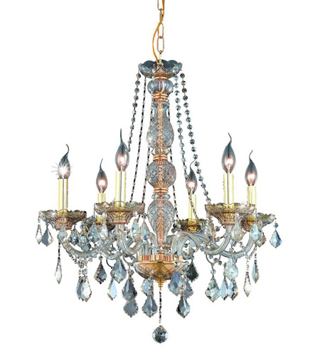 Elegant Lighting Verona 6 Light Dining Chandelier in Golden Shadow with Royal Cut Golden Shadow Crystal 7856D24GS-GS/RC photo