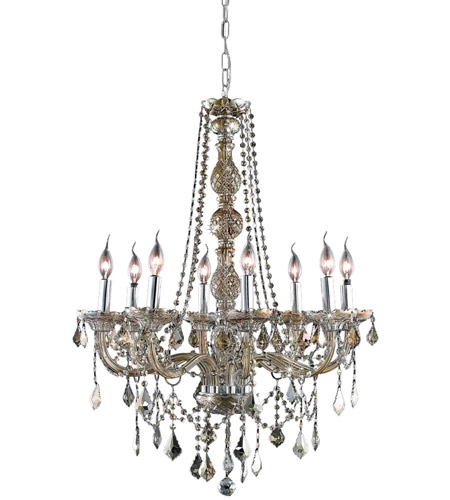 Elegant Lighting Verona 8 Light Dining Chandelier in Golden Teak with Royal Cut Golden Teak Crystal 7858D28GT-GT/RC photo