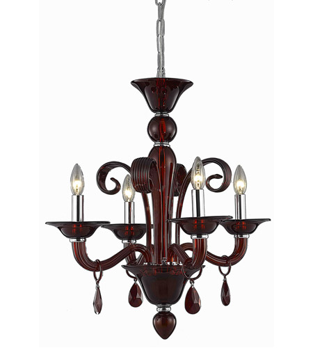 Elegant Lighting 7864D22RD/SS Muse 4 Light 22 inch Red Dining Chandelier Ceiling Light in Bordeaux, Swarovski Strass photo