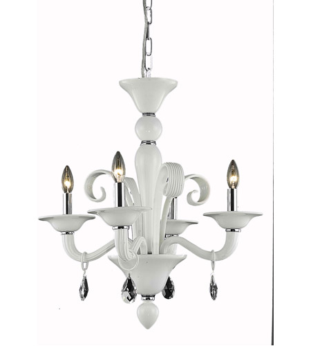 Elegant Lighting Muse 4 Light Dining Chandelier in White with Swarovski Strass Clear Crystal 7864D22WH/SS photo