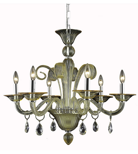 Elegant Lighting Muse 6 Light Dining Chandelier in Yellow with Swarovski Strass Golden Shadow Crystal 7866D29YW/SS photo