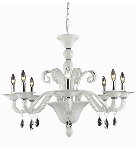 Elegant Lighting Muse 8 Light Dining Chandelier in White with Royal Cut Clear Crystal 7868D36WH/RC photo