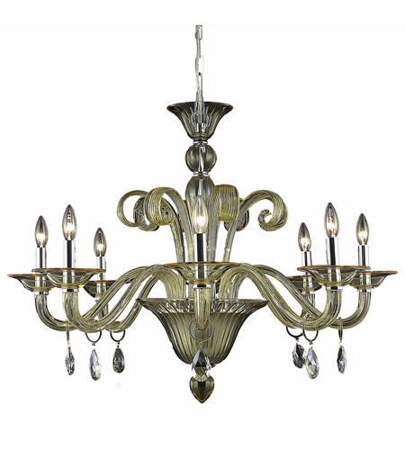 Elegant Lighting Muse 8 Light Dining Chandelier in Yellow with Swarovski Strass Golden Shadow Crystal 7868D36YW/SS photo