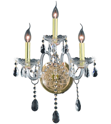 Elegant Lighting Verona 3 Light Wall Sconce in Gold with Royal Cut Clear Crystal 7953W3G/RC photo