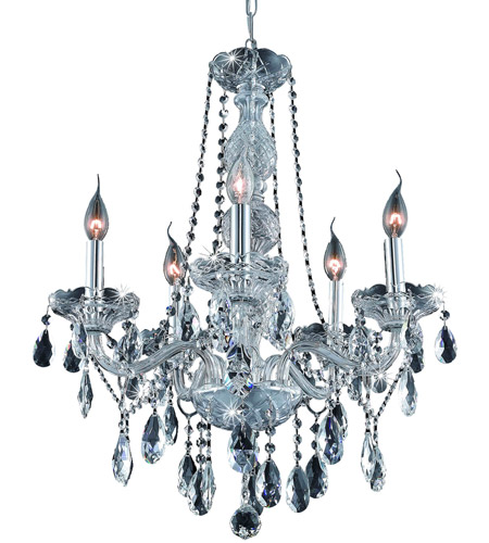 Elegant Lighting Verona 5 Light Dining Chandelier in Chrome with Royal Cut Clear Crystal 7955D21C/RC photo