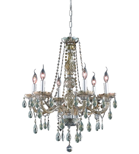 Elegant Lighting 7956D24GT-GT/RC Verona 6 Light 24 inch Golden Teak Dining Chandelier Ceiling Light in Royal Cut photo