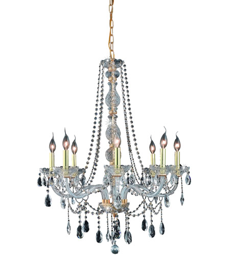 Elegant Lighting 7958D28G/RC Verona 8 Light 28 inch Gold Dining Chandelier Ceiling Light in Clear, Royal Cut photo