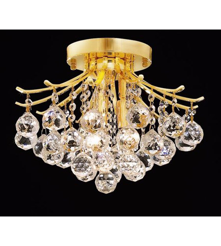 Elegant Lighting 8000F12G/SS Toureg 3 Light 12 inch Gold Flush Mount Ceiling Light in Swarovski Strass photo