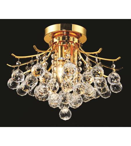 Elegant Lighting Toureg 3 Light Flush Mount in Gold with Royal Cut Clear Crystal 8000F16G/RC photo