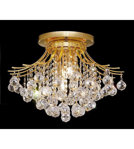 Elegant Lighting Toureg 6 Light Flush Mount in Gold with Royal Cut Clear Crystal 8000F19G/RC photo