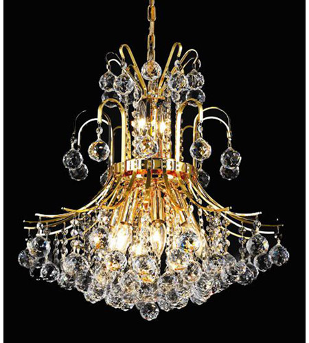 Elegant Lighting Toureg 10 Light Dining Chandelier in Gold with Royal Cut Clear Crystal 8001D19G/RC photo