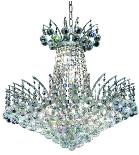 Elegant Lighting Victoria 8 Light Dining Chandelier in Chrome with Swarovski Strass Clear Crystal 8031D19C/SS photo