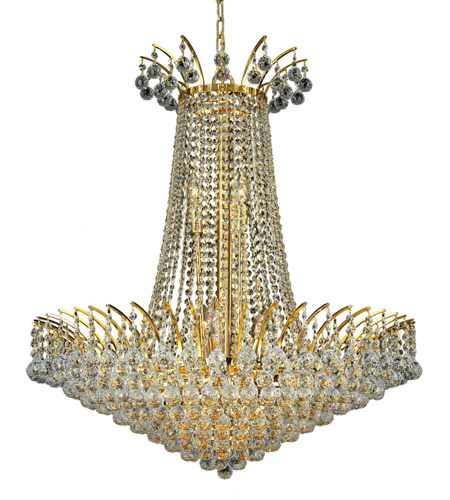 Elegant Lighting 8031D29G/SS Victoria 16 Light 29 inch Gold Dining Chandelier Ceiling Light in Swarovski Strass photo
