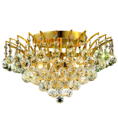 Elegant Lighting 8031F16G/SS Victoria 6 Light 16 inch Gold Flush Mount Ceiling Light in Swarovski Strass photo