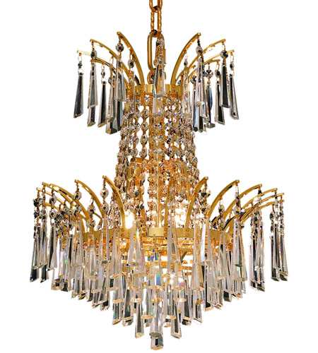 Elegant Lighting Victoria 4 Light Dining Chandelier in Gold with Royal Cut Clear Crystal 8032D16G/RC photo