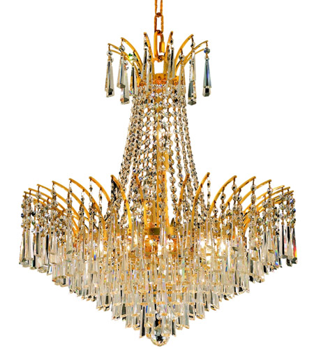 Elegant Lighting Victoria 11 Light Dining Chandelier in Gold with Swarovski Strass Clear Crystal 8032D24G/SS photo
