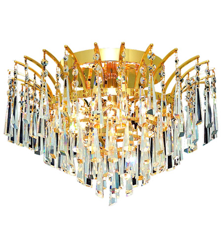 Elegant Lighting Victoria 6 Light Flush Mount in Gold with Royal Cut Clear Crystal 8032F16G/RC photo