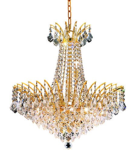 Elegant Lighting Victoria 11 Light Dining Chandelier in Gold with Royal Cut Clear Crystal 8033D24G/RC photo