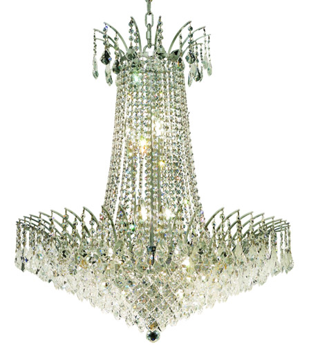 Elegant Lighting Victoria 16 Light Dining Chandelier in Chrome with Swarovski Strass Clear Crystal 8033D29C/SS photo
