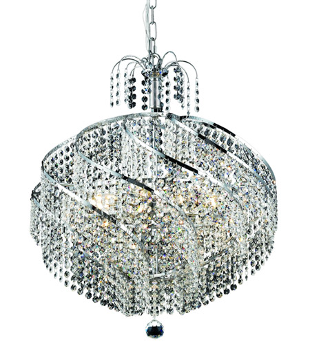 Elegant Lighting Spiral 10 Light Dining Chandelier in Chrome with Spectra Swarovski Clear Crystal 8052D22C/SA photo