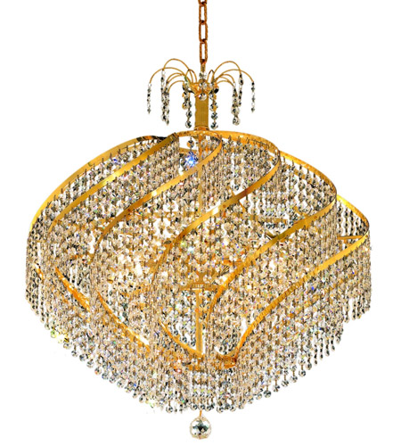 Elegant Lighting 8052D26G/RC Spiral 15 Light 26 inch Gold Dining Chandelier Ceiling Light in Royal Cut photo