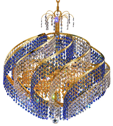 Elegant Lighting Spiral 15 Light Dining Chandelier in Gold with Royal Cut Crystal 8053D26G/RC photo