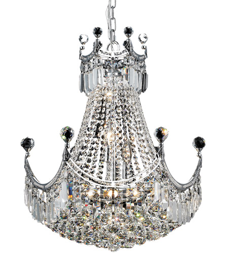 Elegant Lighting V8949D20C/RC Corona 9 Light 20 inch Chrome Dining Chandelier Ceiling Light in Royal Cut photo